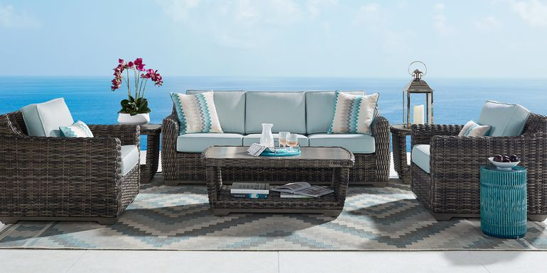 Cindy Crawford Home Montecello Gray 4 Pc Outdoor Seating Set with Seafoam Cushions
