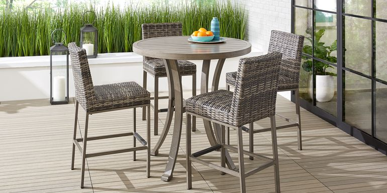 Cindy Crawford Home Montecello Gray 5 Pc 42 in. Round Bar Height Dining Set