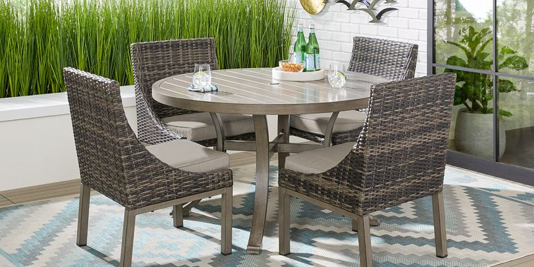 Cindy Crawford Home Montecello Gray 5 Pc 52 in. Round Outdoor Dining Set with Silver Cushions