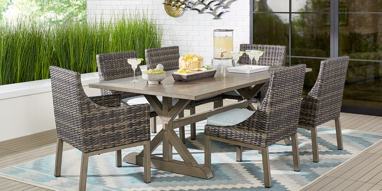 Cindy Crawford Home Montecello Gray 5 Pc 84 in. Rectangle Outdoor Dining Set with Seafoam Cushions