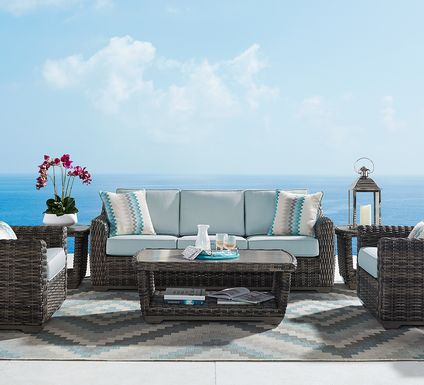Cindy Crawford Home Montecello Gray 6 Pc Outdoor Seating Set with Seafoam Cushions