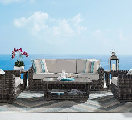 Cindy Crawford Home Montecello Gray 6 Pc Outdoor Seating Set with Silver Cushions
