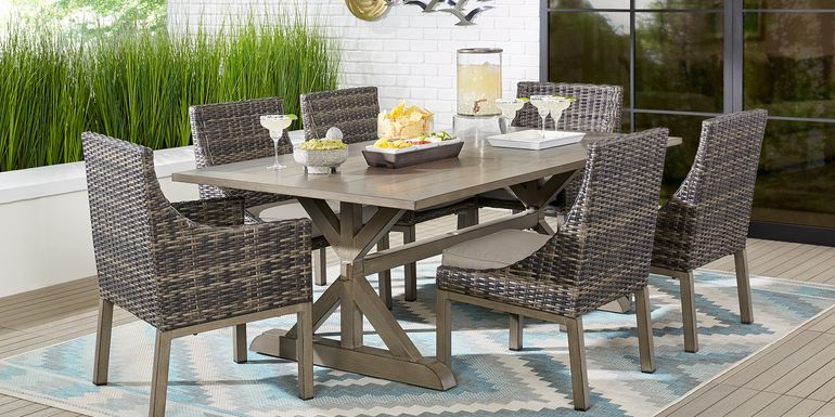 Cindy Crawford Home Montecello Gray 7 Pc 105 in. Rectangle Outdoor Dining Set with Silver Cushions