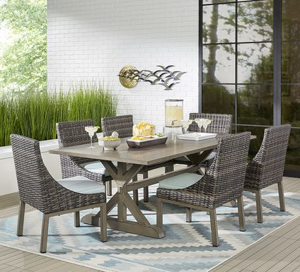 Cindy Crawford Home Montecello Gray 7 Pc 84 in. Rectangle Outdoor Dining Set with Seafoam Cushions