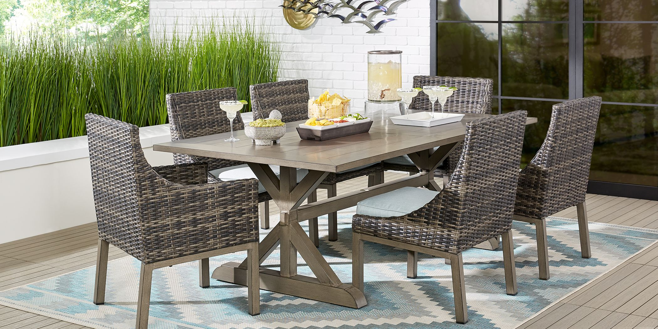 Rectangular Outdoor 7 Piece Patio Dining Sets