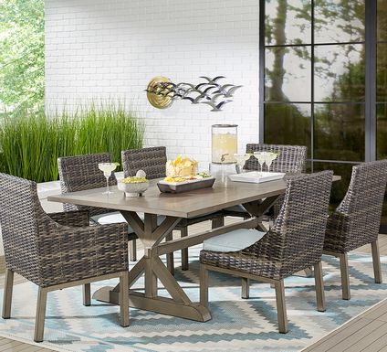 Cindy Crawford Home Montecello Gray 9 Pc 105 in. Rectangle Outdoor Dining Set with Seafoam Cushions