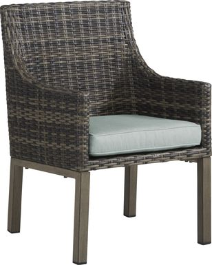 Cindy Crawford Home Montecello Gray Outdoor Arm Chair with Seafoam Cushion
