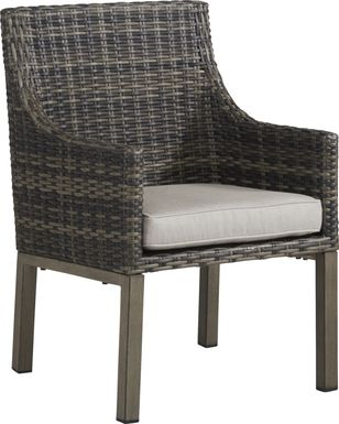 Cindy Crawford Home Montecello Gray Outdoor Arm Chair with Silver Cushion