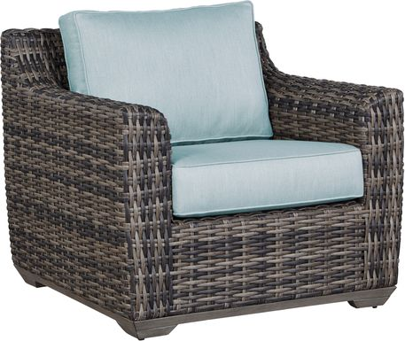 Cindy Crawford Home Montecello Gray Outdoor Club Chair with Seafoam Cushions