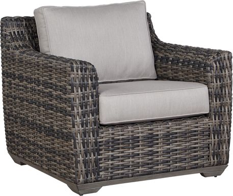 Cindy Crawford Home Montecello Gray Outdoor Club Chair with Silver Cushions