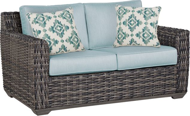 Cindy Crawford Home Montecello Gray Outdoor Loveseat with Seafoam Cushions