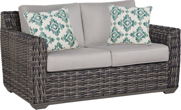 Cindy Crawford Home Montecello Gray Outdoor Loveseat with Silver Cushions