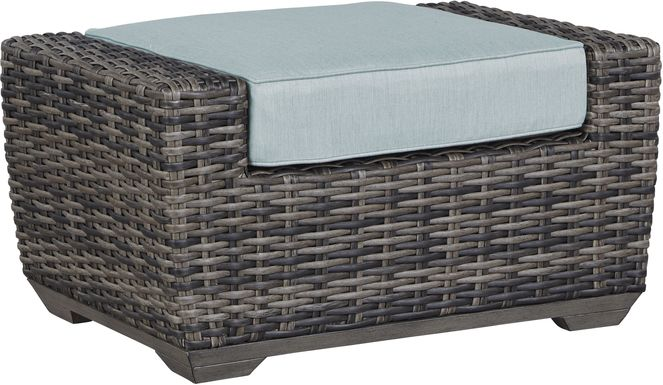 Cindy Crawford Home Montecello Gray Outdoor Ottoman with Seafoam Cushion