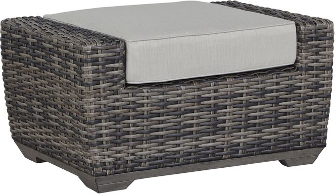 Cindy Crawford Home Montecello Gray Outdoor Ottoman with Silver Cushion