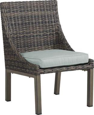 Cindy Crawford Home Montecello Gray Outdoor Side Chair with Seafoam Cushion