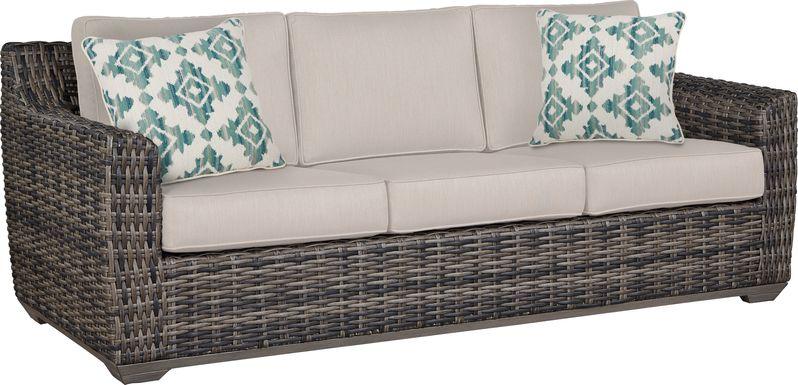 Cindy Crawford Home Montecello Gray Outdoor Sofa with Linen Cushions