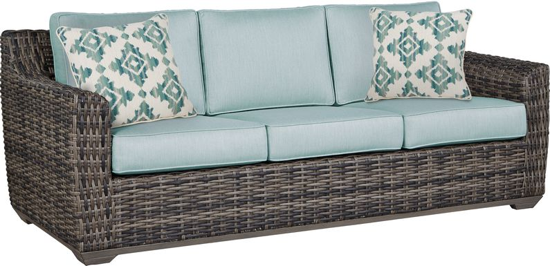 Cindy Crawford Home Montecello Gray Outdoor Sofa with Seafoam Cushions