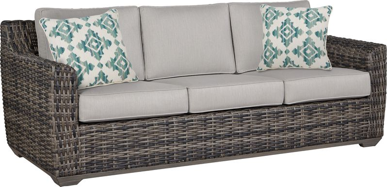 Cindy Crawford Home Montecello Gray Outdoor Sofa with Silver Cushions