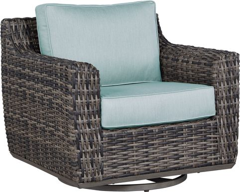 Cindy Crawford Home Montecello Gray Outdoor Swivel Rocker Chair with Seafoam Cushions