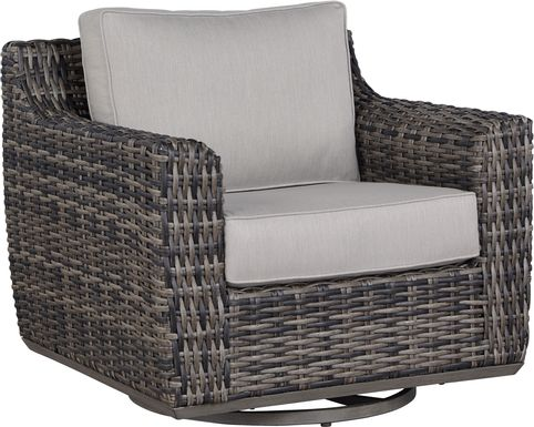 Cindy Crawford Home Montecello Gray Outdoor Swivel Rocker Chair with Silver Cushions