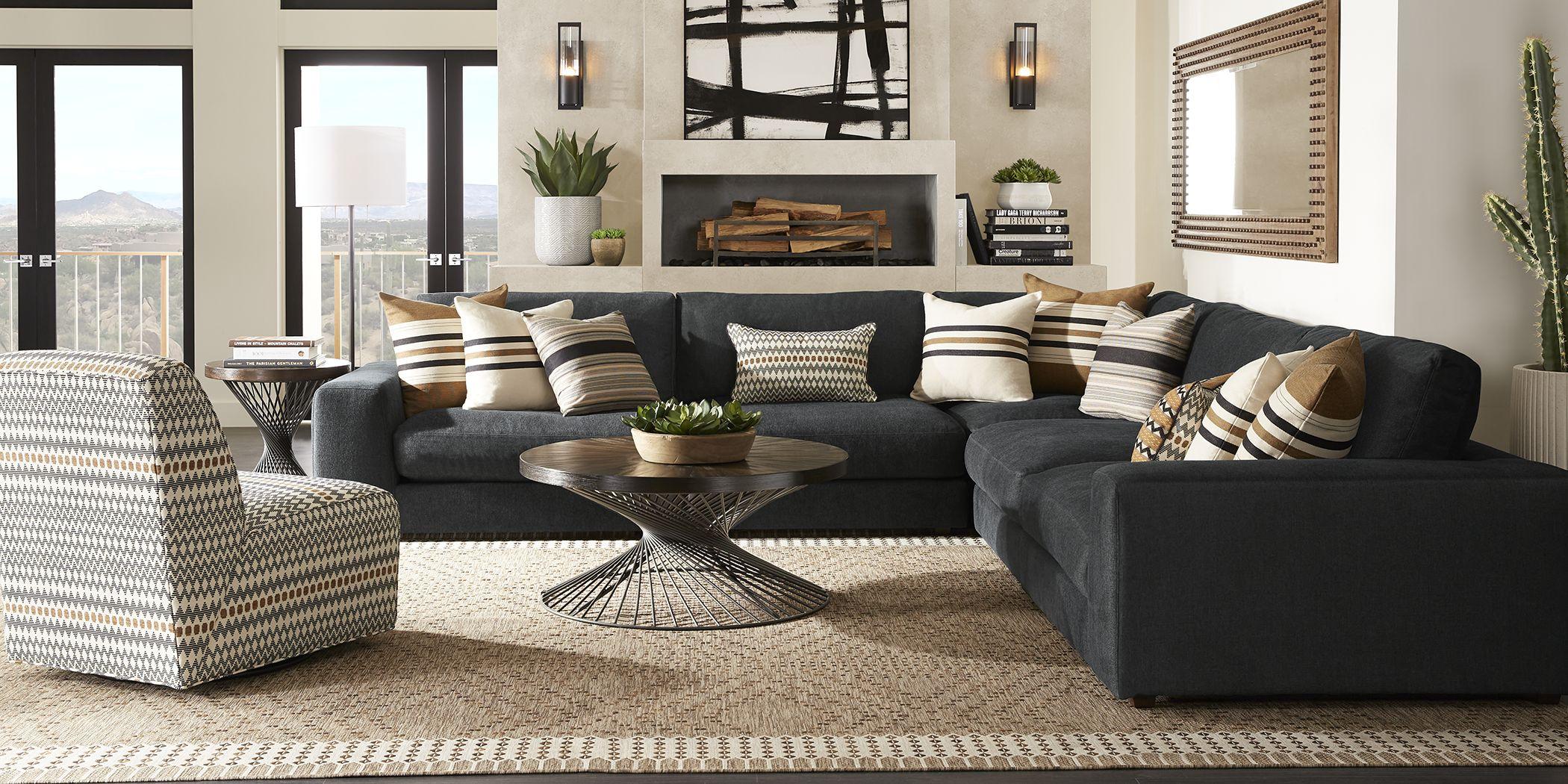 Cindy Crawford Home Nichols Park Onyx 3 Pc Sectional