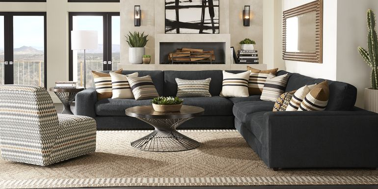 Cindy Crawford Home Nichols Park Onyx 3 Pc Sectional