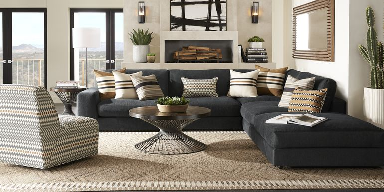 Cindy Crawford Home Nichols Park Onyx 4 Pc Sectional