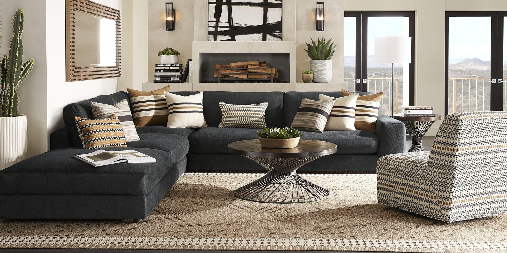Cindy Crawford Home Nichols Park Onyx 4 Pc Sectional
