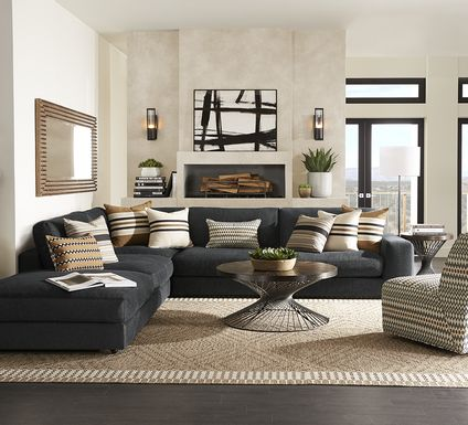 Cindy Crawford Home Nichols Park Onyx 5 Pc Sectional