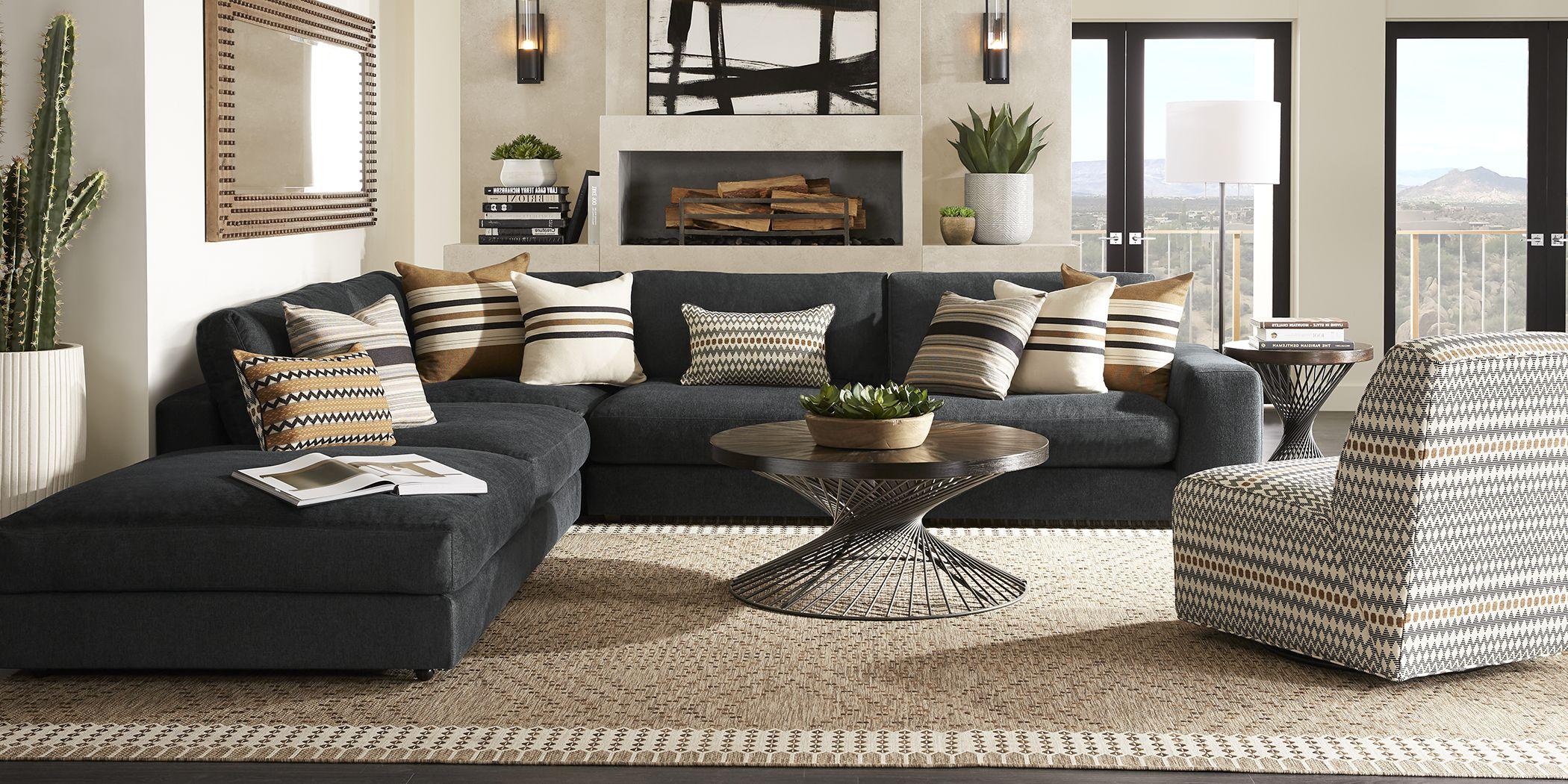 Cindy Crawford Home Nichols Park Onyx 5 Pc Sectional