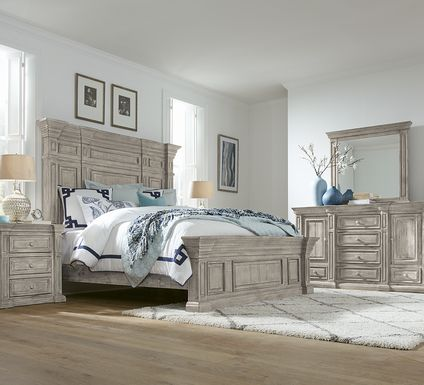 Cindy Crawford Home Pine Manor Gray 5 Pc Queen Panel Bedroom