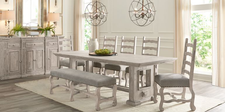 Cindy Crawford Home Pine Manor Gray 6 Pc 102 in. Dining Room