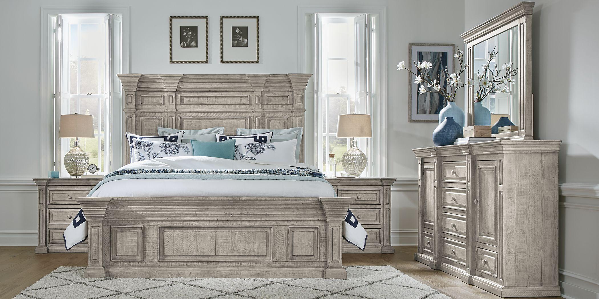Cindy Crawford Home Pine Manor Gray 7 Pc King Panel Bedroom