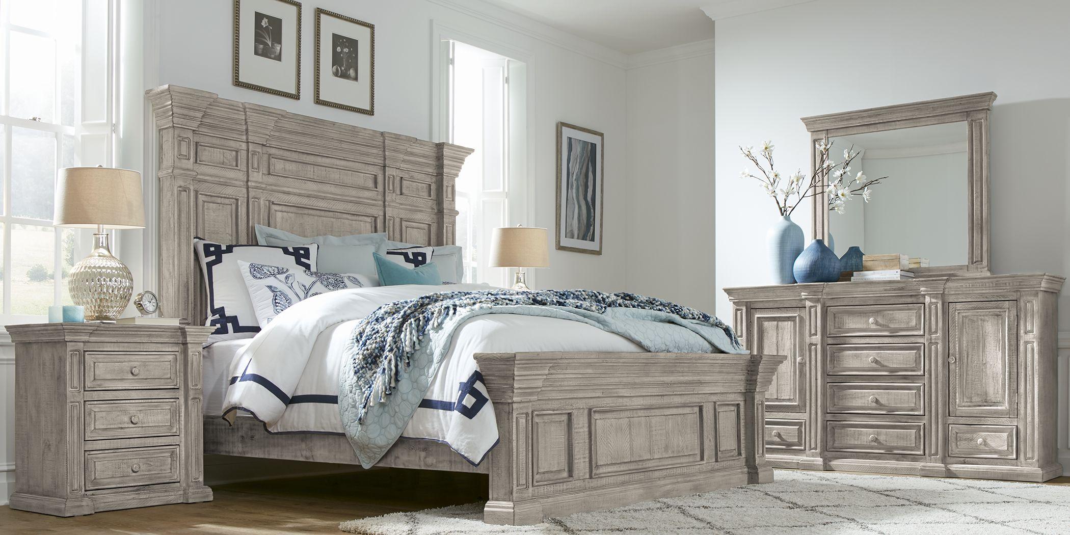 Cindy Crawford Home Pine Manor Gray 7 Pc Queen Panel Bedroom