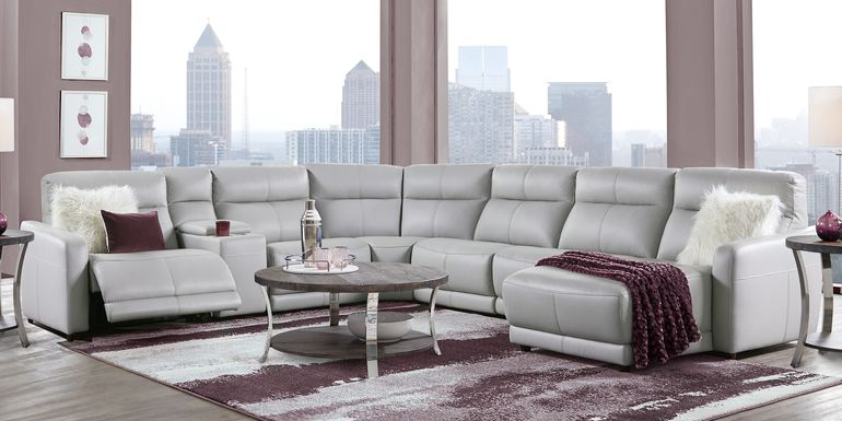 Cindy Crawford Home Salento Gray 7 Pc Leather Power Reclining Sectional