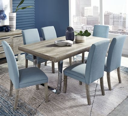 Cindy Crawford Home San Francisco Gray 5 Pc Dining Room with Blue Chairs