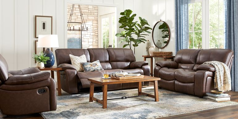 Cindy Crawford Home San Gabriel Brown Leather 3 Pc Living Room with Reclining Sofa