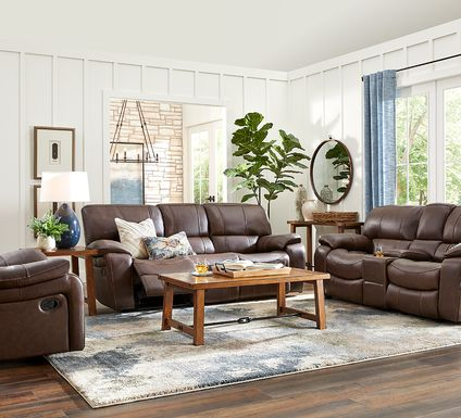 Cindy Crawford Home San Gabriel Brown Leather 3 Pc Reclining Living Room