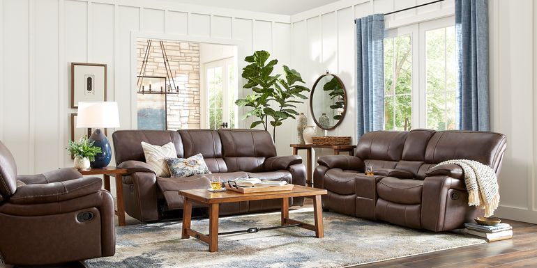 Cindy Crawford Home San Gabriel Brown Leather 5 Pc Reclining Living Room