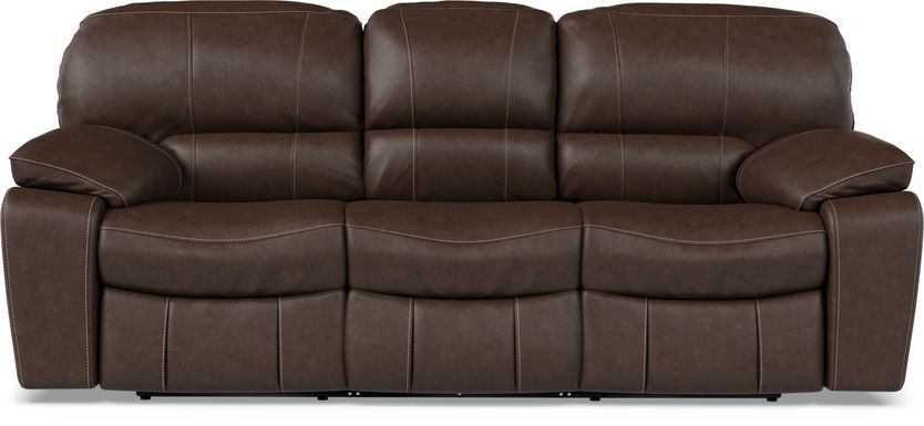 Cindy Crawford Home San Gabriel Brown Leather Power Reclining Sofa