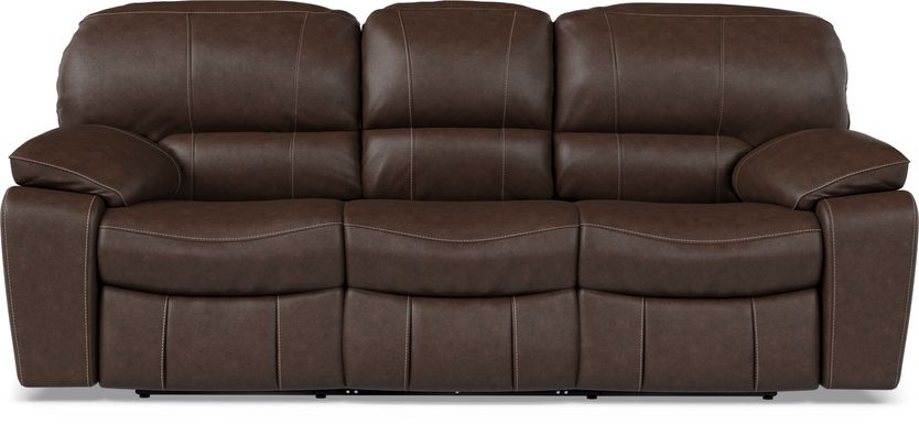 Cindy Crawford Home San Gabriel Brown Leather Reclining Sofa