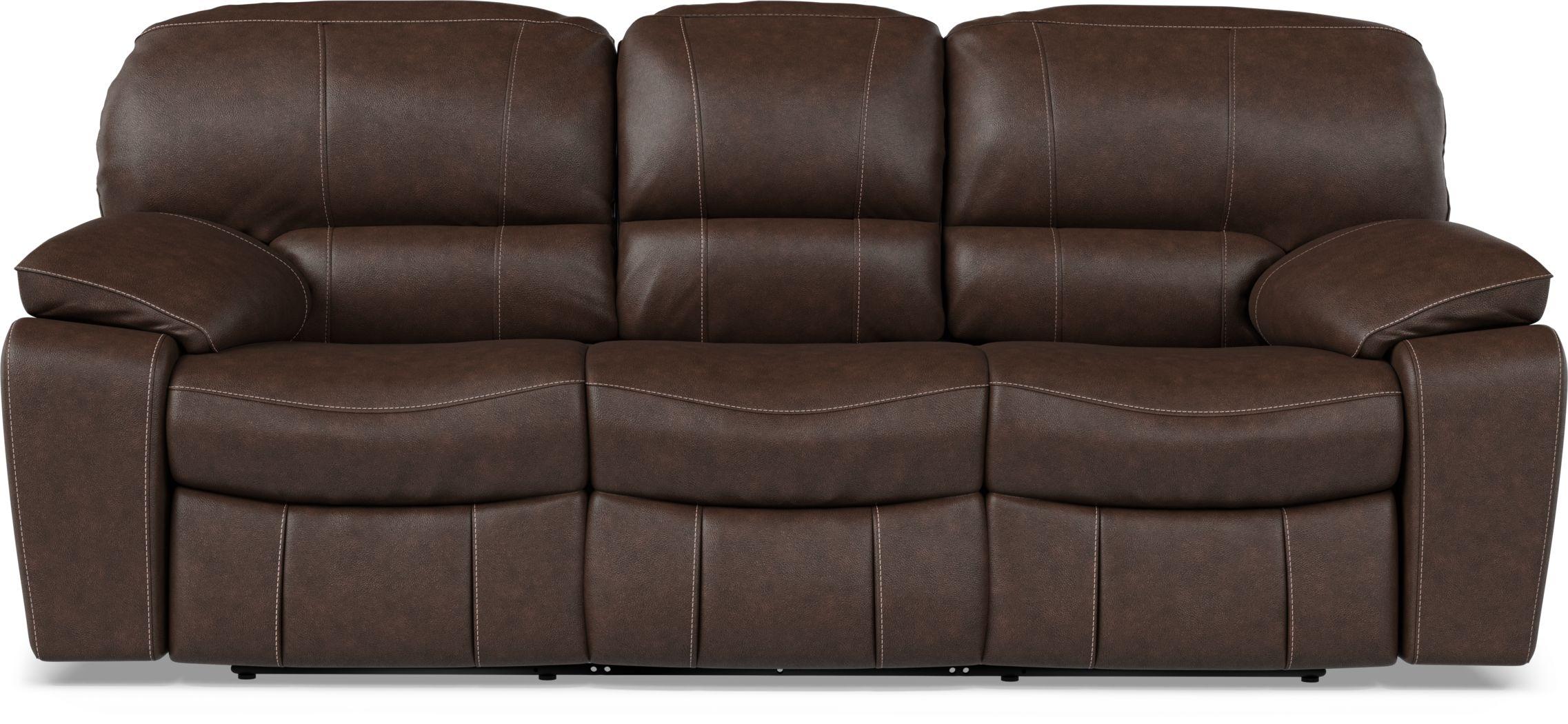 Cindy Crawford Home San Gabriel Brown Leather Reclining Sofa
