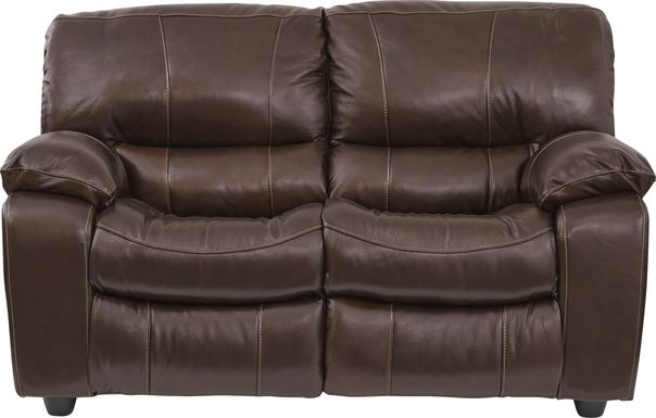 Cindy Crawford Home San Gabriel Brown Leather Loveseat