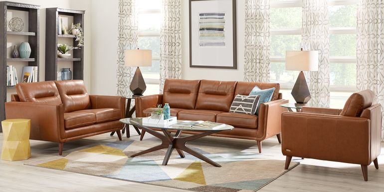 Cindy Crawford Home San Salerno Saddle Leather 3 Pc Living Room
