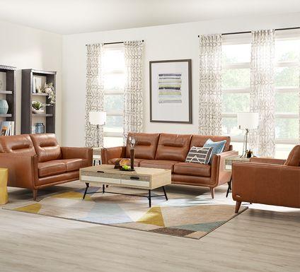 Cindy Crawford Home San Salerno Saddle Leather 5 Pc Living Room