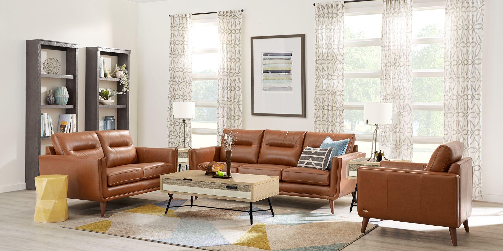 Cindy Crawford Home San Salerno Saddle Leather 7 Pc Living Room