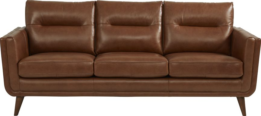 Cindy Crawford Home San Salerno Saddle Leather Sofa