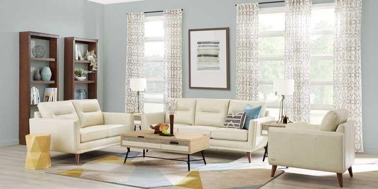 Cindy Crawford Home San Salerno Stone Leather 7 Pc Living Room