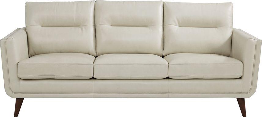 Cindy Crawford Home San Salerno Stone Leather Sofa