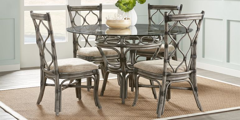 Cindy Crawford Home Shorecrest Gray 54 in. 5 Pc Round Dining Set
